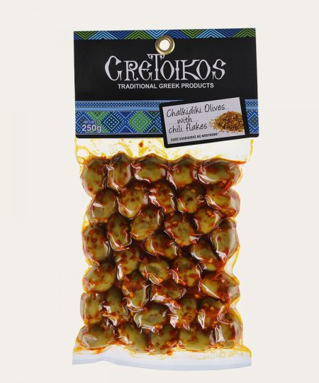 Chalkidiki olives with chili flakes 250gr