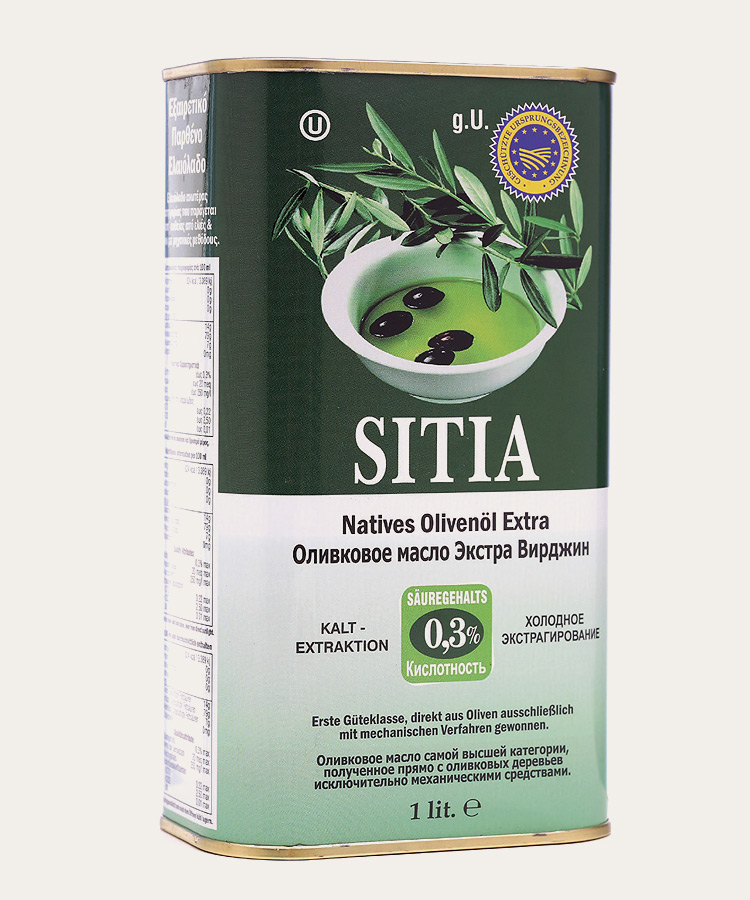 Sitia pdo extra virgin olive oil 0.3% canister 1lt